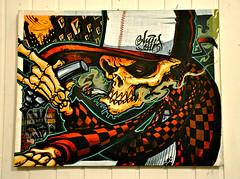 "AnusOne-Exhib.""Flesh&Bones"" 22 (cmdpirx) Tags: urban streetart art wall flesh writing painting skeleton skull one graffiti 1 mural paint artist wand character hamburg can exhibition spray crew bones hh writer bone hiphop hip hop graff piece aerosol anus bombing legal wildstyle knstler skelett knochen fatcap schdel strassenkunst anusone"
