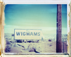 Holbrook, AZ (moominsean) Tags: arizona southwest sign polaroid desert tourist holbrook advertisment 190 wigwams iduv expired022008