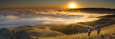 Dawn Hikers - Mission Peak (Steve Kody) Tags: california panorama sun nature grass fog sunrise canon landscape outdoors gold dawn golden hiking pano tripod foggy sanjose hike fremont hills lee lensflare 7d summit mission sanfranciscobay eastbay hikers grassland rollinghills goldenhour kody missionpeak sunol godrays 24105 ebrpd gnd eastbayregionalparkdistrict feisol ef24105mmf4lisusm eastbayparks graduatedfilter leefilters ebparks canon7d ebparksok missionpeakpreserve skody stkody stevekody