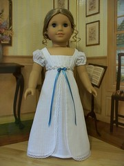 White cotton Batiste Regency Era Gown- Made to fit American Girl Dolls (Keepersdollyduds) Tags: girl doll cotton american regency batiste ruching keepersdollyduds