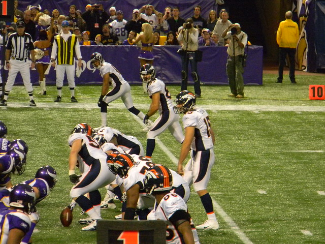 Decker and the Broncos offense wait for Tebow to get under center