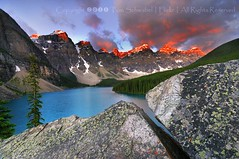 Mind the Gap (pdxsafariguy) Tags: blue lake snow canada mountains tree rock clouds sunrise nationalpark alberta banff lichen lakelouise glacial morainelake tomschwabel