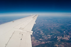 Atmosphere. (Bokeh Eyes) Tags: sky ice window nature beautiful beauty clouds america plane river airplane landscape texas wind squares kentucky north wing atmosphere land sight turbulence