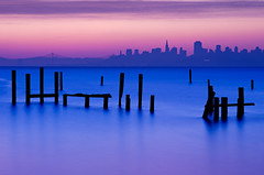 Morning Tranquility (mikeSF_) Tags: california county morning beach skyline sunrise landscape pier san francisco long exposure cityscape pentax marin filter nd pilings swedes limited sausalito k5 swede fa77 wwwmikeoriazenfoliocom