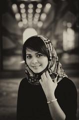 Arab Fashion (ehkxbox) Tags: portrait bw white black classic ex girl monochrome beauty smile fashion lady vintage lens asian photography 50mm prime bahrain glamour aperture nikon pretty dof bokeh f14 middleeast sigma xbox monotone mosque arab pinay grayscale abaya pinoy dg kix hsm d7000 khelai