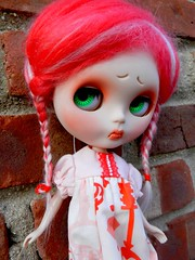 peppermint fluffer buns (cybermelli) Tags: red white eye face carved doll sad dress coconut mohair blythe braids frown custom takara peppermint brows weft frowny fishknees