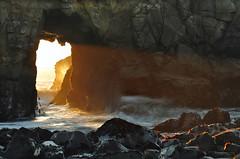 DSC_3336 (mingzkl) Tags: california sunset rock bigsur wave panoramic splash westcoast sunbeam pfeifferbeach nikkor105mmf25ais