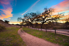 A Final Sunset (Extra Medium) Tags: road sunset grass fence hills trail oaktree agoura agourahills