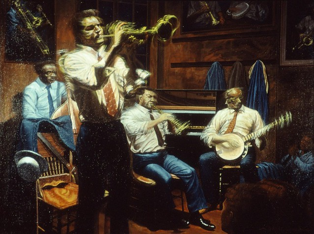 New Orleans 202, Preservation Hall (Jazz Musicians), acryl on canvas, 24x32 inch, 1992, Takeshi Yamada