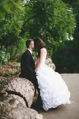 Hiding in the hair (ZekaG) Tags: sanfrancisco california wood wedding love standing log couple sitting passion facialhair whiteandblack