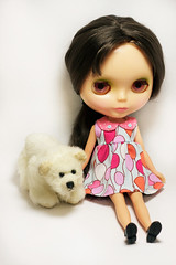 Riley with Bear (prettyinthekitchen) Tags: bear cute kenner blythe brunette 1972