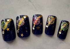 Fireworks (NeverTooMuchGlitter) Tags: festival fireworks celebration july4th 4thofjuly hanabi nailart fakenail artnail artificialnail japanesenailart designnail pressonnail