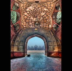 Badshahi Mosque Entrance Vertorama (i.rashid007) Tags: beautiful fog highresolution lahore stitched verticalpanorama foggymorning badshahimosqe vertorama hdrvertorama iconicmosque