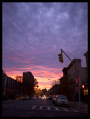 Brooklyn Scorched Sky (David L. Merin) Tags: street nyc newyorkcity sunset sky cars brooklyn clouds stoplight firesky scorchedsky