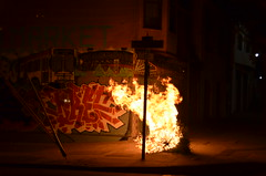 Christmas Tree on Fire (Michael Kappel) Tags: sanfrancisco california ca fire graffiti san francisco flames flame arson firing pyromania treeonfire sanfranciscograffiti burningtree torching incendiarism settingfire burningchristmastree christmastreeonfire