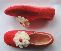 Felted Slippers Red with Dots Flowers (Ekohaus) Tags: pink blue winter red summer music white black green love fashion coral outdoors spring lemon purple heart natural notes handmade stripes clown gray lion khaki bubbles fresh indoors camel violin gift fourseasons valentines apricot mustard ecofriendly vivaldi productdesign soling summershoes feltedflower womenshoes feltedslippers shoes2011 colorsole