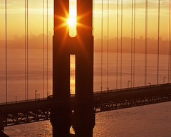 Solar Observatory, Revisited (RZ68) Tags: city bridge light sun tower film yellow skyline sunrise gold dawn golden bay gate san francisco warm glow marin north velvia headlands years rise 75 provia 75th daybreak ggnra e100 rz68