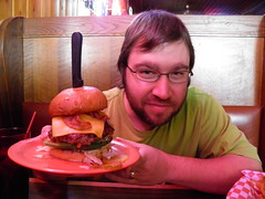 Me Holding a Half Pound Miesville Burger (rabidscottsman) Tags: portrait food usa vegetables cheese bar tomato mushrooms happy restaurant photo bacon beef burger knife plate meat onions delicious pork lettuce eat cheeseburger dairy fried day14 sprouts greenpepper bellpepper sauteed bestburgers dakotacountyminnesota scotthendersonphotography miesvilleminnesota