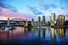 Vancouver Burrard Bridge at Sunset (TOTORORO.RORO) Tags: city sunset canada reflection skyline vancouver lens mirror bc britishcolumbia sony translucent granvilleisland alpha f28 slt ssm nationalgeographic burrardbridge greatervancouver a55 1650mm sal1650