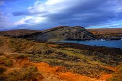 Mahana Bay (Big Island, HI) (ohhector) Tags: road blue orange green water rock point island hawaii bay big sand jeep path south s hi rd mahana