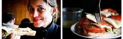 tina (tinasimonova) Tags: blue brussels food cute smile dark restaurant daylight eyes pub friend friendship belgium bright sweet tomatoes atmosphere plate fork delicious baguette brunch tina jolie taste bella colourful piece sourire magnifique cutlery basilico tasteful chillout diptich faim hlad mozzarela