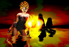 She Lived on a Hot Planet (Alles Klaar) Tags: red sky woman hot green clock water beauty hat yellow clouds reflections fire wings rocks colours framed flames posed nails secondlife sciencefiction colourful bodysuit swimsuit windlight filterforge