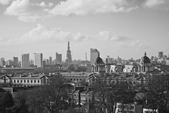Black & white view from Greenwich Park (Gary Kinsman) Tags: bw london tower skyline architecture contrast skyscraper blackwhite construction cityscape zoom greenwich telephoto highrise canon5d bttower shard towerblock greenwichpark londonist canon28135mm 2011 royalnavalcollege se10 bttelecomtower theshard shardlondonbridge