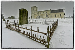 Kellington Church During an Early Evening Snow Fall (nigelnaturist) Tags: uk longexposure winter england snow church buildings lowlight yorkshire headstones graves kellington efs1022mmf3545usm canon40d nhbphotography