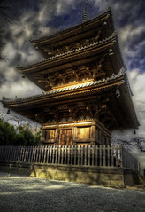 Three-Storey Pagoda of Old Tomyoji (www.karlocamero.com) Tags: wood old blue winter sky brown building beauty japan clouds canon pagoda high ancient warm dynamic traditional structure  5d yokohama range  hdr highdynamicrange 2012 sankeien tonemap 5xp flickraward hdraddicted hdraward karlocamero