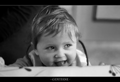 Gentiane (Letzia) Tags: blue people blackandwhite bw flower fleur beautiful smile smiling belle sourire beautifuleyes bleue bleus gentiane yeuxclairs ljphotography bbbabygirlfille cutemignone laetitiajardry