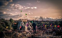 Grab it! (Javier Martínez Morán) Tags: red orange verde green abandoned yellow balloon colores amarillo helium globos naranja escombros helio abandonado apocalipsis polvorin samsungnx agarralo