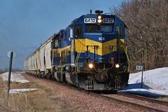 Code Blue - MP 53 - IC&E Jackson Subdivison (MinnKota Railfan) Tags: railroad blue chicago ice minnesota yellow train gold pacific albert engine rail loco wells iowa canadian jackson lea locomotive cp eastern dakota dme unit emd sd402 sd403