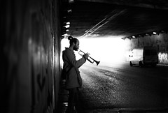 (Nasos Zovoilis) Tags: street bw musician music white playing man black car dark mood alone play tunnel athens greece passing