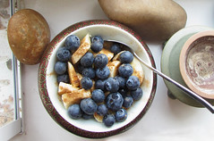 (100% raw) vegan breakfast (GF) (tarengil) Tags: blue food white color cooking kitchen fruits yellow breakfast vegan raw sweet cinnamon banana blueberry vegetarian