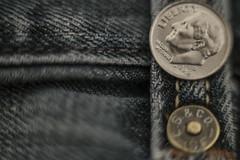 "Give me ""Liberty""! -Macro Monday (ali_alchemic light) Tags: macro closeup corner liberty dof pants coins head depthoffield jeans dime stitches levis levistrauss stud macromondays smallerthanacoin"