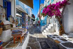 Beautiful Alley in Mykonos, Greece (` Toshio ') Tags: city flowers people greek store alley europe european postcard cobblestone greece europeanunion mykonos toshio greekisland mykonostown xe2 fujixe2