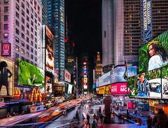 Bustling streets at midnight...Times Square it is! (Sribha Jain) Tags: street ny newyork cityscape traffic broadway timessquare 42ndstreet