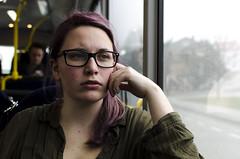 KHH_6405_1 (higdem) Tags: portrait blackandwhite bw woman colour bus girl colours p dame jente buss portrett farger bussen kvinne