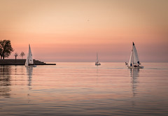 Heavenly Lake Michigan (trevorklatko) Tags: sunset lake chicago water landscape boats sailing michigan citylife pastels