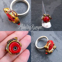 """Tan Bunny on red Ring Top • <a style=""""font-size:0.8em;"""" href=""""https://www.flickr.com/photos/37516896@N05/6418485867/"""" target=""""_blank"""">View on Flickr</a>"""