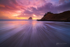 Haystack Rock and Cape Kiwanda Sunset (Chip Phillips) Tags: ocean city winter sunset beach rock oregon coast waves pacific northwest shore haystack cape kiwanda