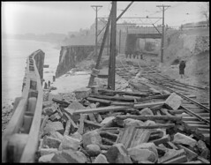 Narrow gauge tracks damaged by storm, Winthrop (Boston Public Library) Tags: weather storms floods lesliejones