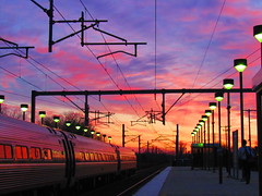 Amazing Sunset at Rt.128 Train Station (Tcost105) Tags: sunset train sunsets trains amtrak freighttrains mbta csx acelaexpress westwoodma rt128station csxb710