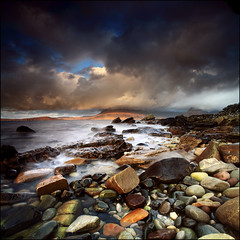 Looking North Elgol (angus clyne) Tags: ocean camera uk travel blue light red sea sky mountain holiday fish seascape storm black west skye beach pool rain rock ferry bronze swim photoshop canon square landscape island