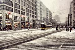 Berlin - Mitte/Mitte (GZZT) Tags: street schnee winter berlin germany de deutschland strasse tram haus gelb mitte schwarz strassenbahn häuser tiltshift bln weis 030 friedrichstrase tiltshiftphotography guessedberlin fusgänger mittemitte gzzt martinbriese gwbdrggkkrueger
