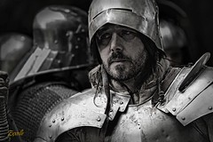 Tired. (Exxelle) Tags: helmet medieval tired warrior antwerp reenactment harnas dqw