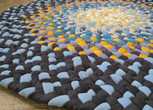 Handmade Braided Rug In Blue And Mustard From Upcycled Cotton