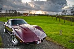 Corvette Stingray.- (Mimimii77898090) Tags: brown storm green mike nature grass clouds photography nikon belgium stingray wheels bordeaux automotive nikkor rims corvette d5000 crawat