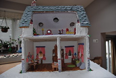 The dollhouse rooms (ineedathis) Tags: christmas windows roof chimney house kitchen miniatures baking modeling livingroom attic curtains gingerbreadhouse merrychristmas dollhouse christmaswreath modelmaking gumpaste 2011 sugarcraft nikond80