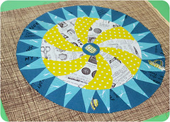 Cogwheel (badskirt) Tags: brown hat circle typography words quilt handmade teal sewing text moda cream dot scissors fabric round points cogwheel patchwork citron cloud9 polkadot speckle newsprint recipebook tailormade joanns munsell cosmocricket badskirt